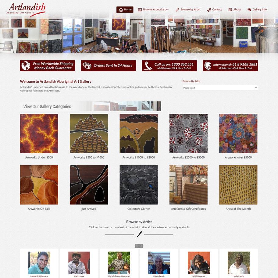 Screengrab of new Artlandish Gallery website
