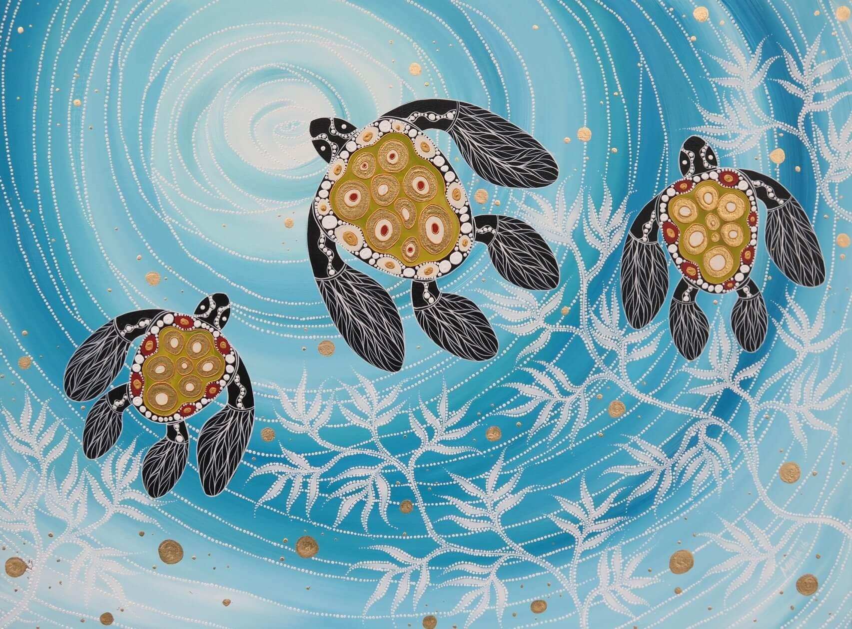 Melanie Hava Turtles Into The Current Artlandish Aboriginal Art