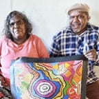Aboriginal artists Damien and Yilpi Marks