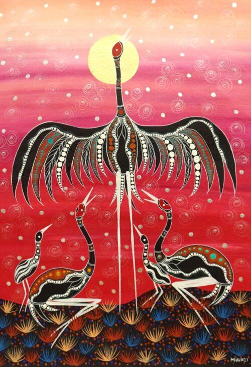 Brolgas in PinkMelanie Hava Aboriginal Art